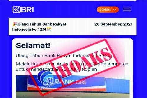 Bank Rakyat Indonesia (BRI) ke-120 memberikan hadiah melalui kuesioner dan berkesempatan mendapatkan Rp2 juta
